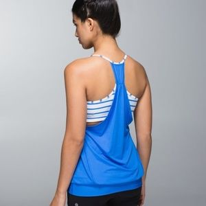 Lululemon No Limits Tank Blue Stripe Bra Singlet